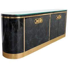 Lacquer and Brass Console Sideboard by Mastercraft
