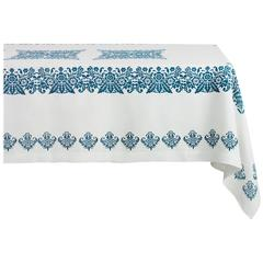 Blue and White Rectangular Linen Tablecloth Hand Printed in Italy