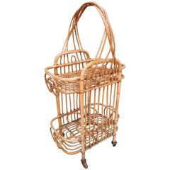 French Rattan Bar Cart, Unusual Smaller Size
