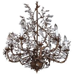 Painted Metal and Glass Ten-Light Chandelier