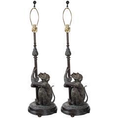 Pair of Bronze Monkey Lamps