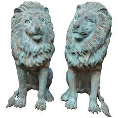 Pair of Bronze Garden Lions