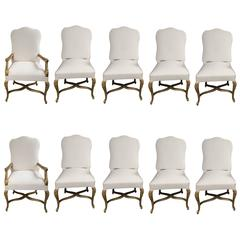 Set of Ten Giltwood Dining Chairs
