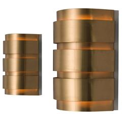 Hans-Agne Jakobsson Set of Two Rounded Brass Wall Lights