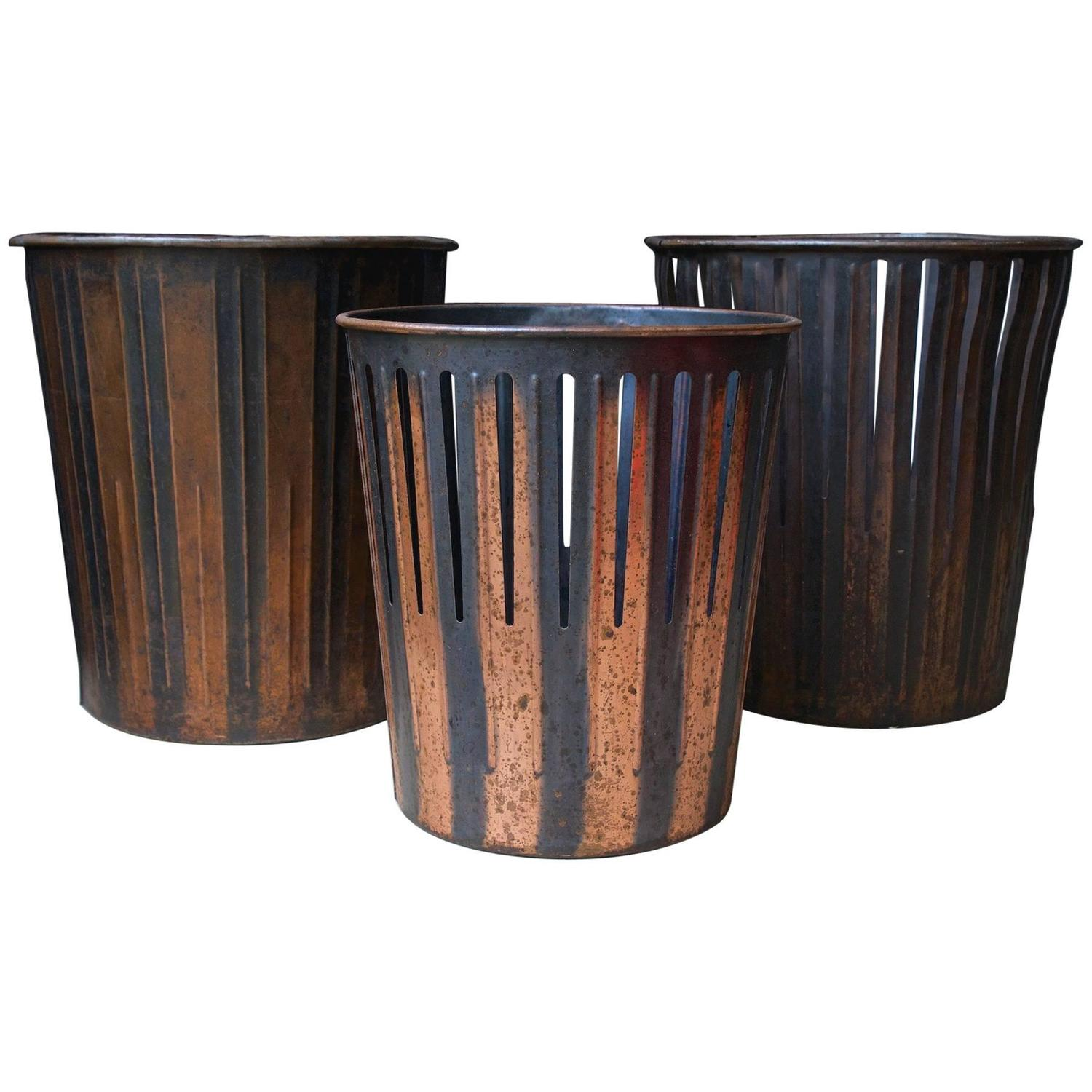 japanned finished copper factory office trash cans