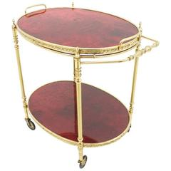 Bar Cart by Aldo Tura in Red Goatskin and Brass, Italy, 1960s