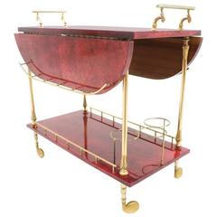 Large Bar Cart by Aldo Tura in Red Goatskin and Brass, Italy, 1960s
