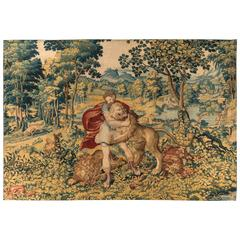 16th Century Flemish Tapestry Hercules and the Nemean Lion