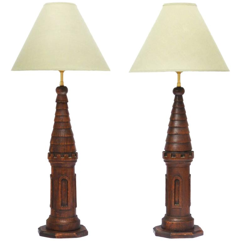 pair of arts and crafts table lamps carved oak french. Black Bedroom Furniture Sets. Home Design Ideas
