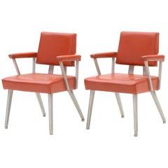 Pair of Vintage GoodForm Brushed Aluminium Companion Armchairs