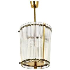 Petite Mid-Century Brass and Glass Rod Drum Chandelier, Italy, 1950s