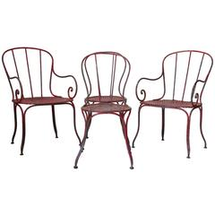 French circa 1900 Wrought Iron Chair and Armchair Set