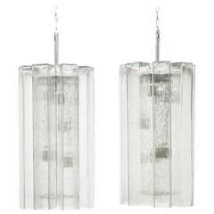 Doria Ice Glass Pendants Germany 1960s - Eight Pendants are available