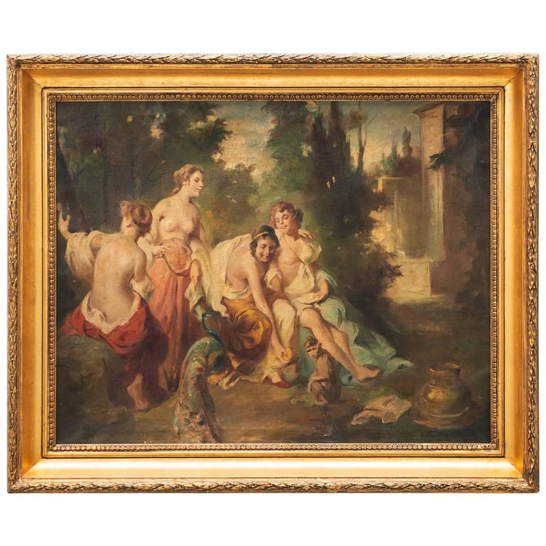 17th Century, French Nymphs Painting For Sale