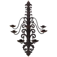 Seven Large Baroque Style Iron Sconces, France, 1940s