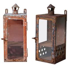 Large Vintage SNCF Lanterns, France, circa 1930s