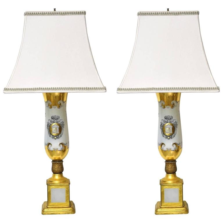 Pair of 20th Century White Porcelain Lamps with Luster Ware Glaze & Gilding For Sale