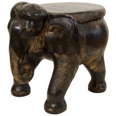 Carved Wood Elephant Stool