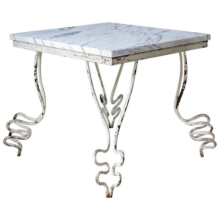 "Wrought Iron & Marble ""Zig-Zag"" Table, France, 1950s"