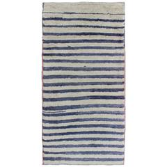 Turkish Angora Tulu Carpet with Ivory and Navy Blue Stripe Pattern
