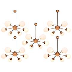 Set of Five Sputniks in Copper and Opaline Glass