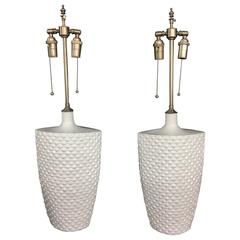 Elegant Pair of Textured White Glazed Vessels with Lamp Application