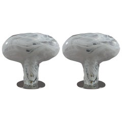 Charming Pair of Murano Glass Tablelamps by Mazzega, Italy, 1970