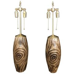 Unique Pair of Hand-Carved Wood Vessels with Lamp Application