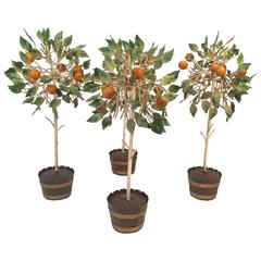 Set of Four Italian Tole Orange Trees in Planters