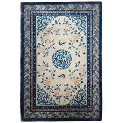 Antique Chinese Peking Carpet in Blue, Peach and Ivory