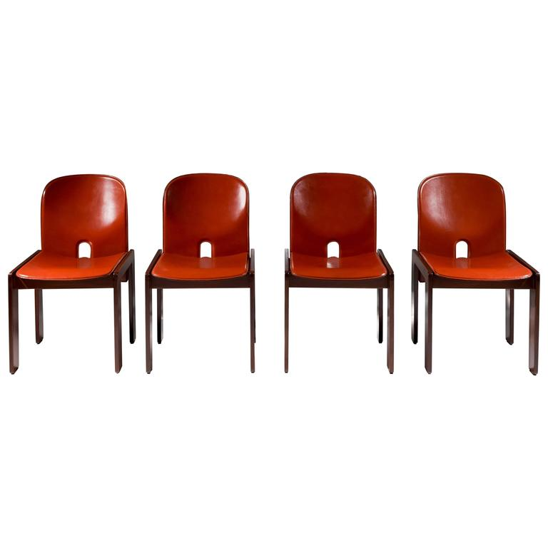"Set of 4 Walnut & Leather ""121"" Chairs by Afra & Tobia Scarpa for Cassina, 1965 1"