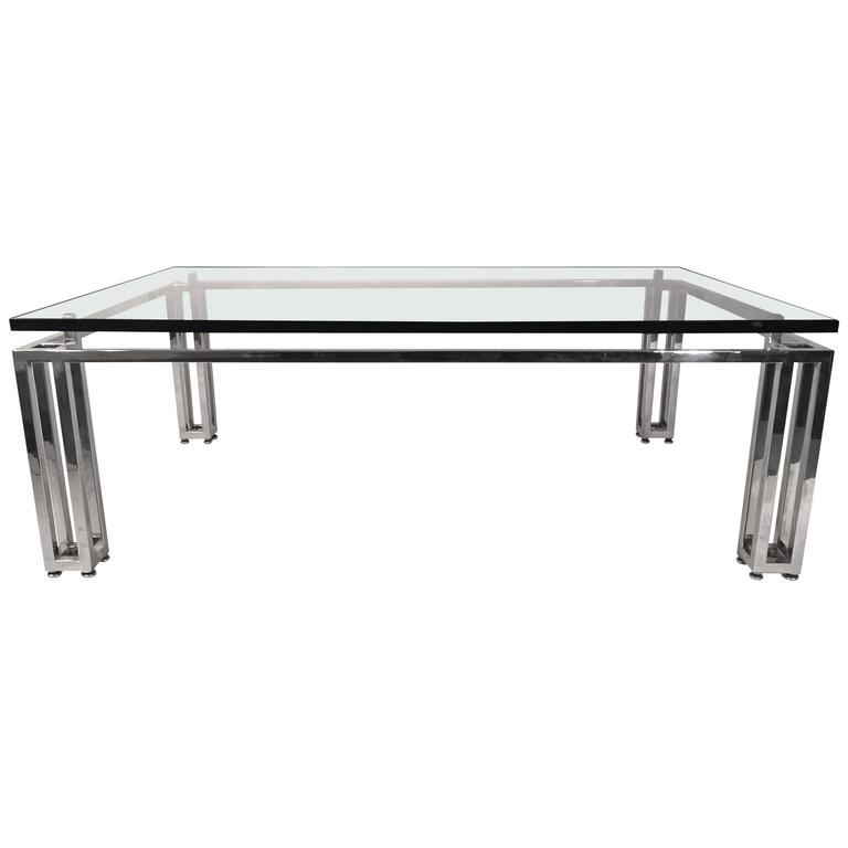 Chrome Base Coffee Table with Floating Glass Top For Sale