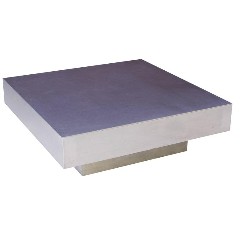 Custom Aluminum Geometric Square Coffee Table, 1980s