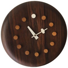 "Rosewood George Nelson and Associates ""Seat"" Clock Fritz Hansen"