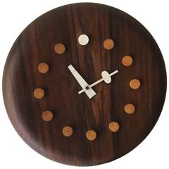"Rosewood George Nelson and Associates ""Seat"" Clock Fritz Hansen"