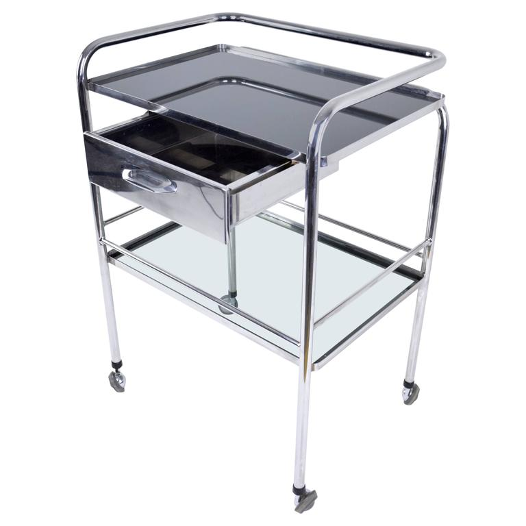 Industrial Medical Cart with Glass Shelves, France, 1960's