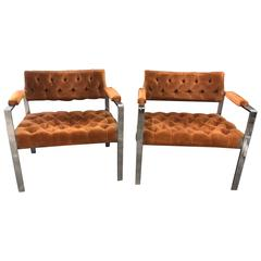 Pair of Milo Baughman Chrome and Velvet Tufted Arm or Lounge Chairs