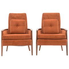 Pair of circa 1970s Vintage Armchairs, Upholstered in Burnt Orange Fabric