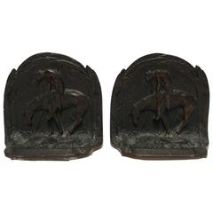 Early 20th Century Horse and Rider Bronze Bookends