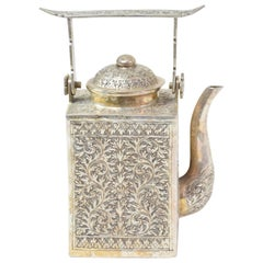 Antique Cambodian Silver Engraved Teapot