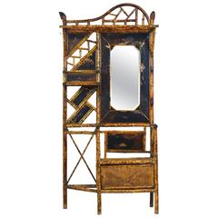 Superior 19th Century English Mirrored Bamboo Hall Stand with Decorated Panels