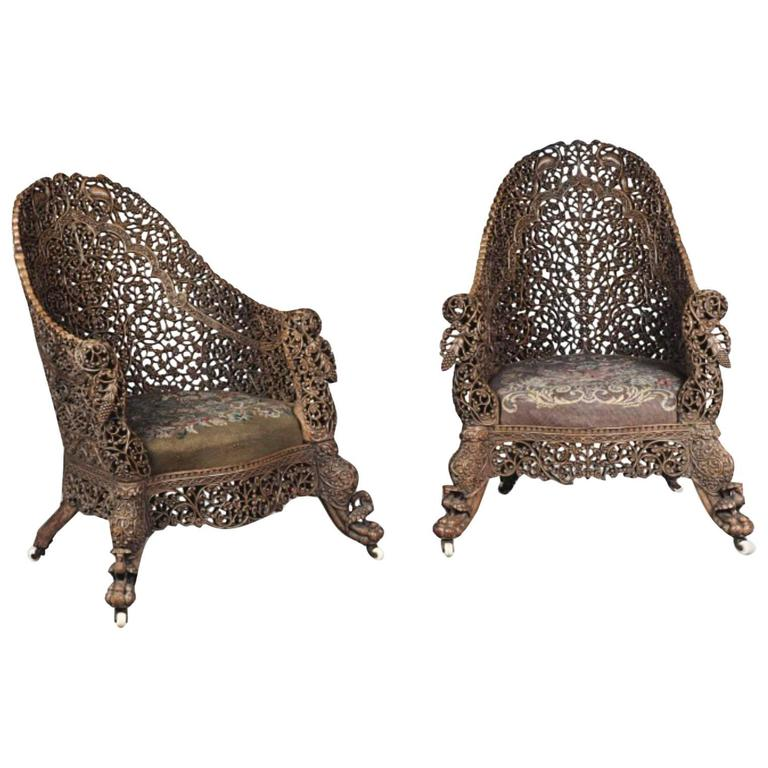 Pair of 19 Century Indian Carved Hardwood Armchairs from the Bombay Presidency For Sale