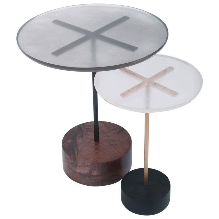 Stella End Tables, Customizable Wood, Metal, Resin and Metallic Powder