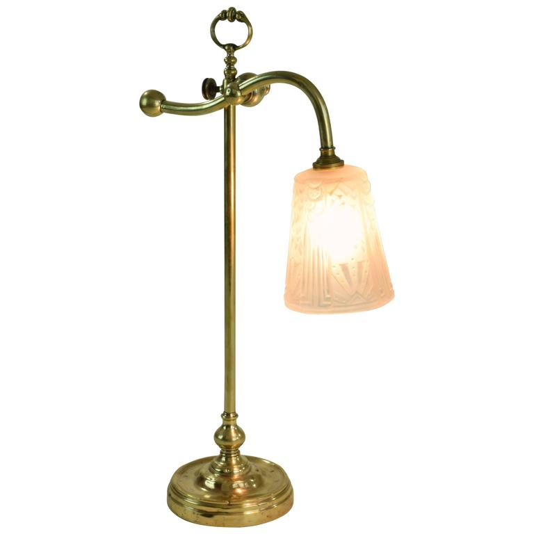 1930's Muller Freres Brass Table Lamp, France
