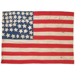 Vintage Folk Art American Flag with 44 Stars