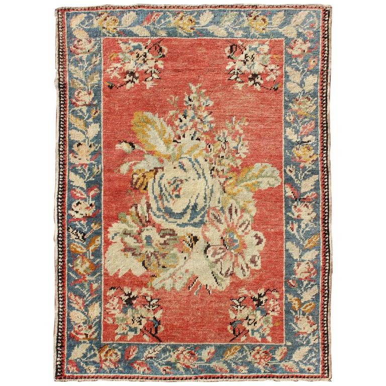 Vintage Turkish Oushak Carpet With Bouquets Of Colorful