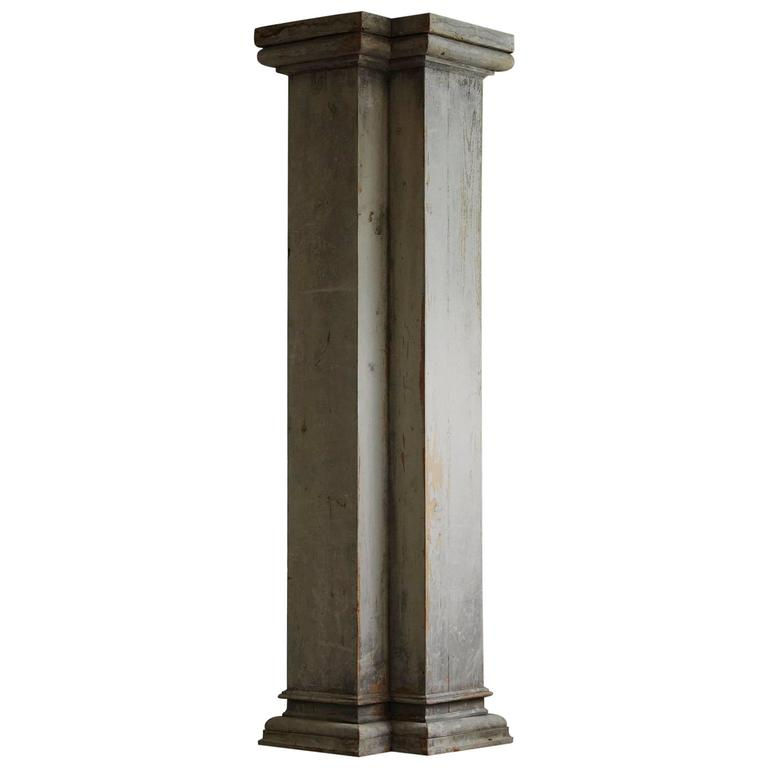 Distressed tall wooden architectural column with patina for Architectural wood columns