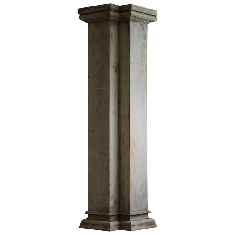 Distressed Tall Wooden Architectural Column with Patina For Sale
