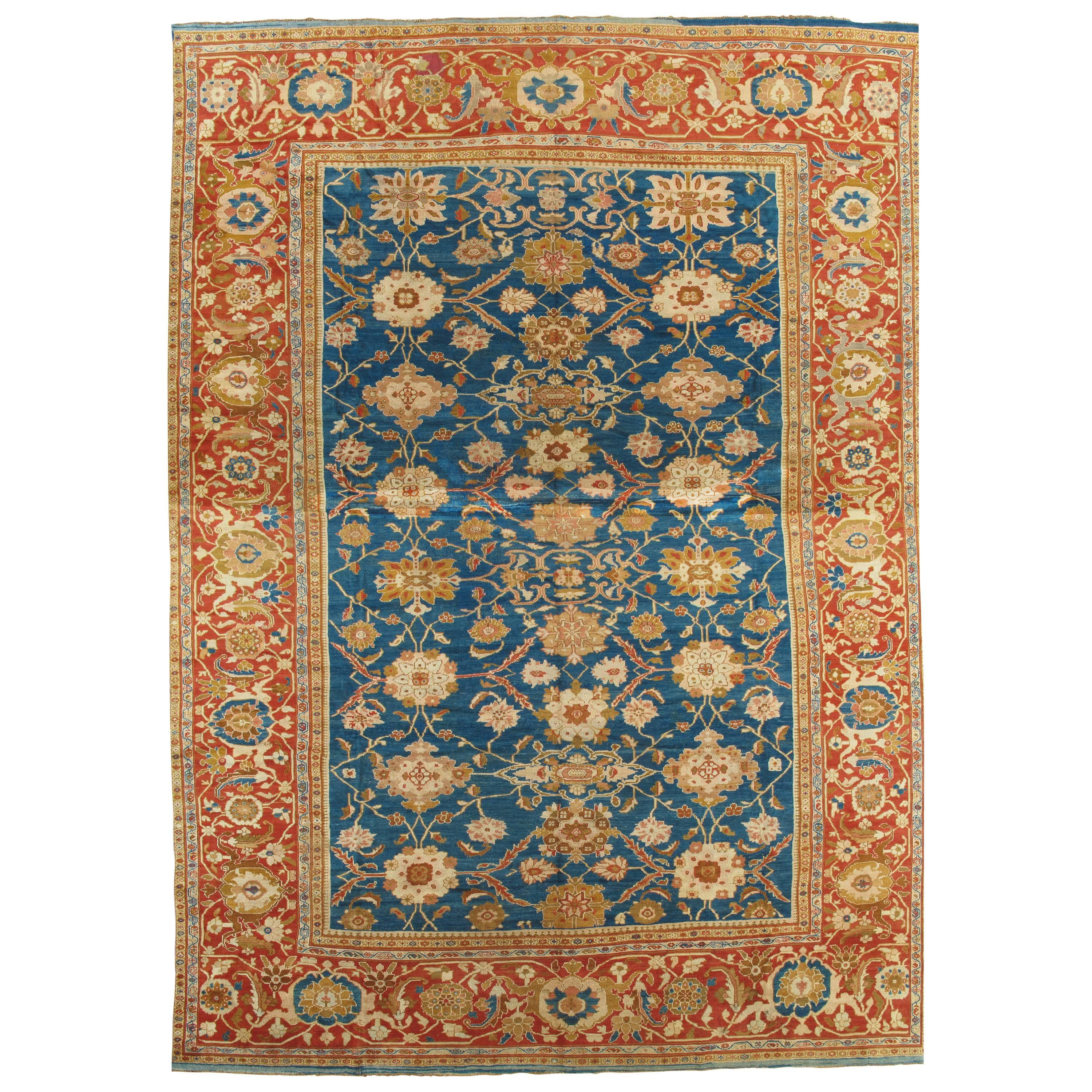 Antique Persian Sultanabad Carpet, Handmade Oriental Rug, Light Blue, Gold Coral