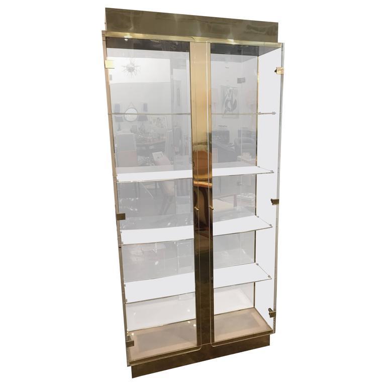 Mid-Century Modern Tall Lucite, Mirror & Gold Tone Metal Cabinet w/ Lighting